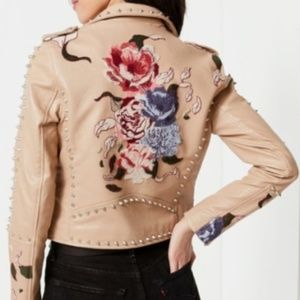 BLANKNYC Studded Embroidered Leather Moto Jacket